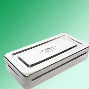 Caja de Acero Inoxidable para esterilización de instrumentos quirúrgicos. Con set saca puntos