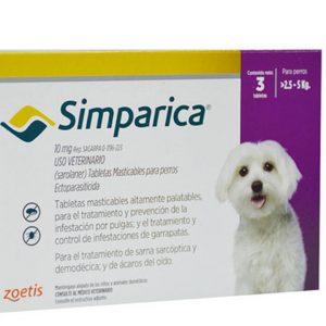 Simparica 10mg ,2 a 5 Kg, Perros (Antiparasitario Masticable Externo)